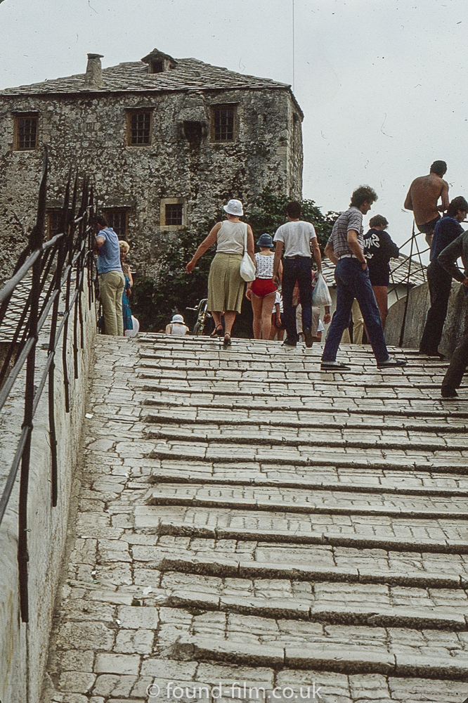 Up the steps