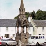 Drinking fountain in Dunkeld, Scotland in August 1975