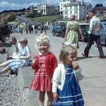 little girls by seaside