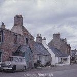 Car parked outside ruined home in Cromarty – 1967