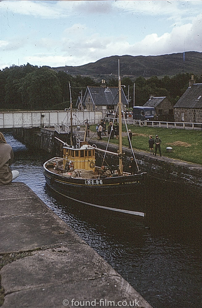 Small fishing boat in Fort Augustus Lock in 1967