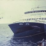 Reef King Catamaran and helicopter, May 1992