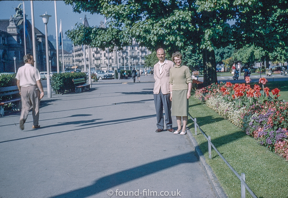 Couple by a garden in Lucerne c1961