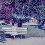 Portrait of a woman on a bench in about 1960
