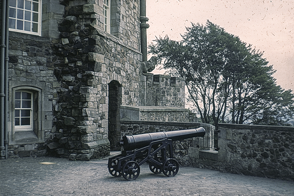A cannon at Stirling Castle in about 1967