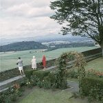 Three women look out from Stirling Castle 1967