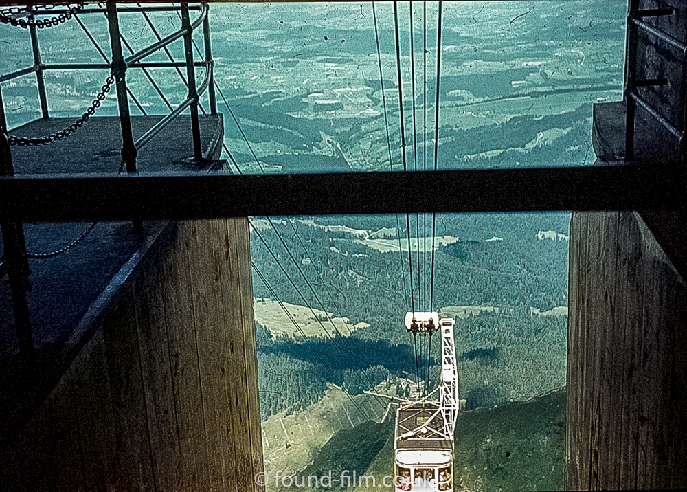 The Cable car station at Pilatus Kulm Hotel, Switzerland 1962