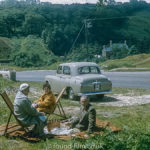 A 1950s family picnic with their Austin A30