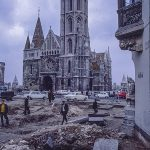 The Matthias church in Budapest with bomb damage in front