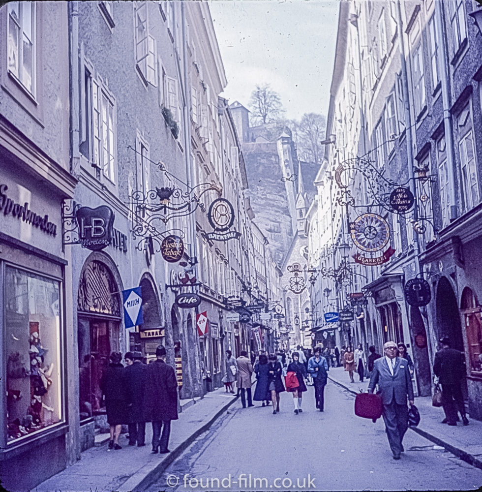 Getreidegasse in Salzburg, Austria in the 1960s