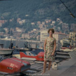 Medium format negatives - Woman standing by speed boats on Swiss Lake