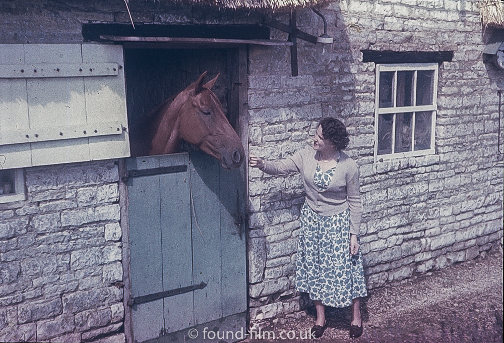 A Woman feeding a horse in stables
