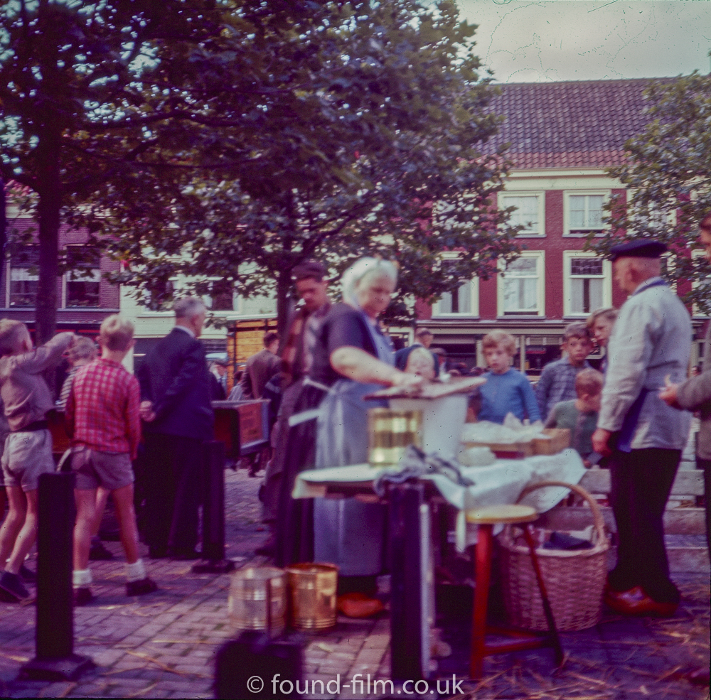 Fishwife in Delft market - 1957