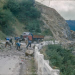 Blasting through a mountain to build a road in Spain – 1955