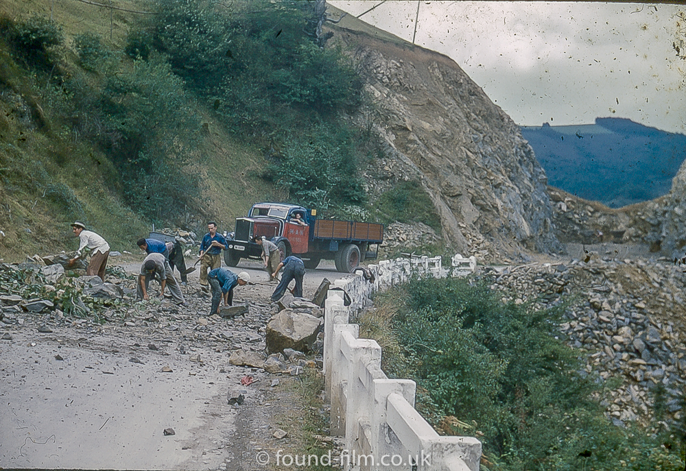 Blasting through a mountain to build a road in spain - 1955
