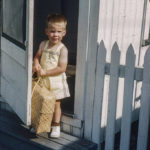 kodachrome red border colour slides - Small boy by a door