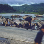 kodachrome red border colour slides - Oriental boat on a river